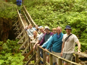 The whole gang on a swinging bridge at Oswald West State Park